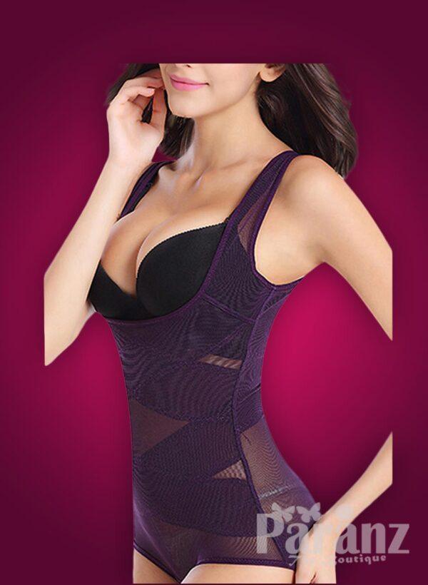 Sleeveless open-bust style net woven underwear body shaper side view