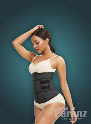 Soft and stretchable waist slimming hourglass shape creating waist cincher side view