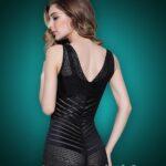 Stylish Sleeveless Open-Bust Style Black Underwear Body Shaper back side view