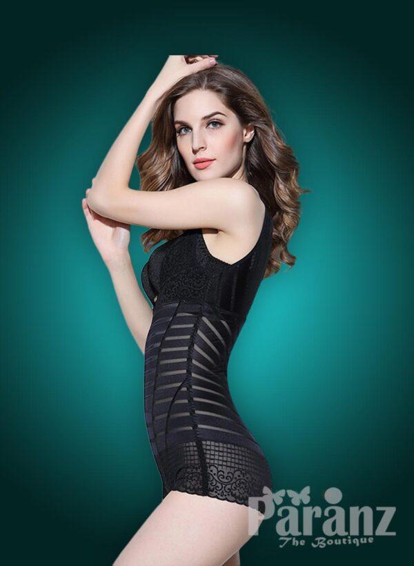 Stylish Sleeveless Open-Bust Style Black Underwear Body Shaper side view