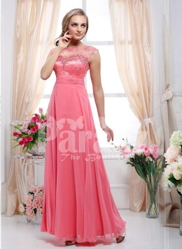 Women's cap sleeve stylish peach pink floor length evening gown with rhinestone work bodice