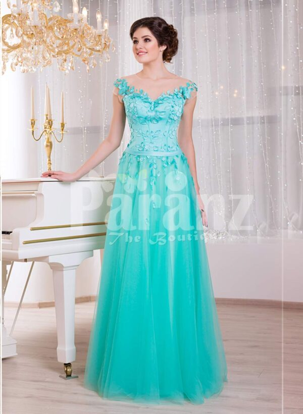 Women's floor length elegant evening gown with mint tulle skirt and floral appliquéd bodice