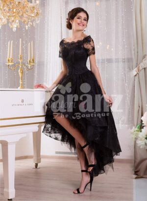 Women's glam black high-low rich satin evening gown with delicate lace work