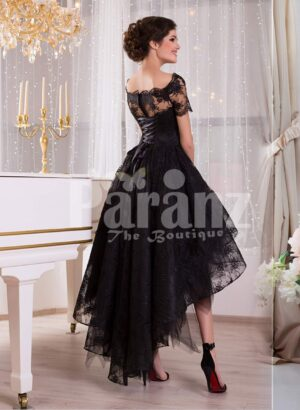 Women's glam black high-low rich satin evening gown with delicate lace work side view