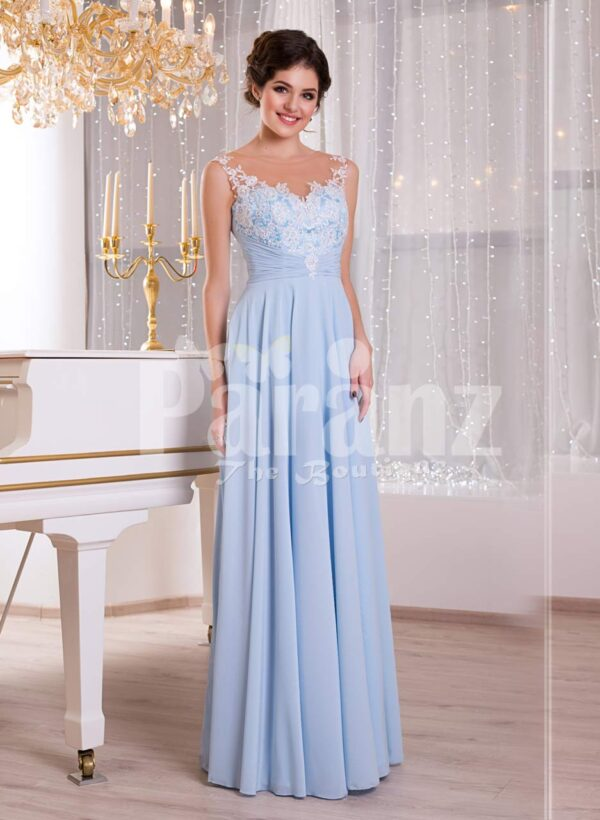 Women's light blue sleek tulle skirt floor length gown with white floral appliquéd bodice