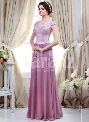 Women's light metal pink bodice evening gown with rich mauve long tulle skirt