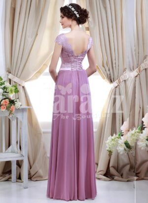 Women's light metal pink bodice evening gown with rich mauve long tulle skirt back side view