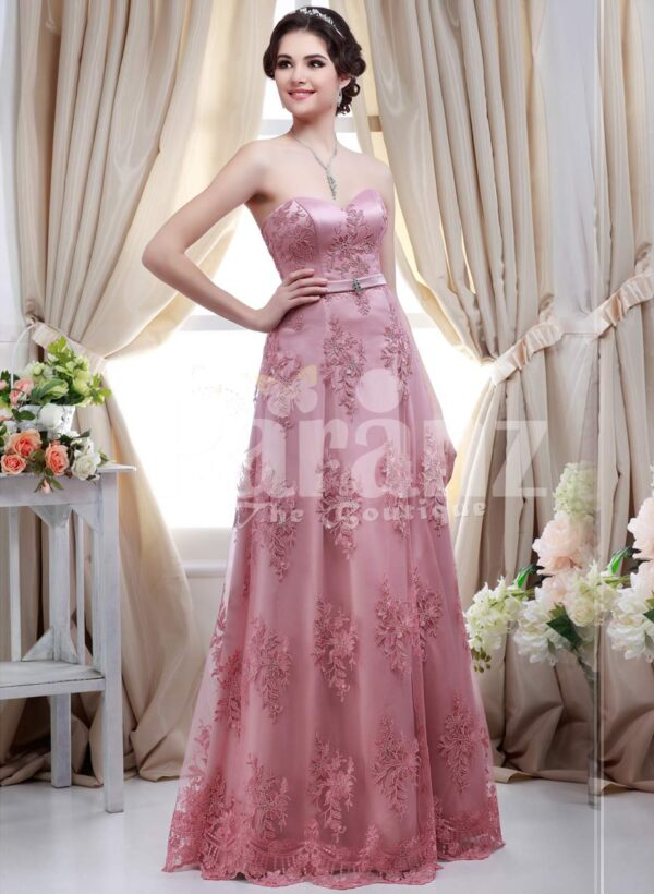 Women's metallic pink off-shoulder evening party gown with floor length lace work skirt