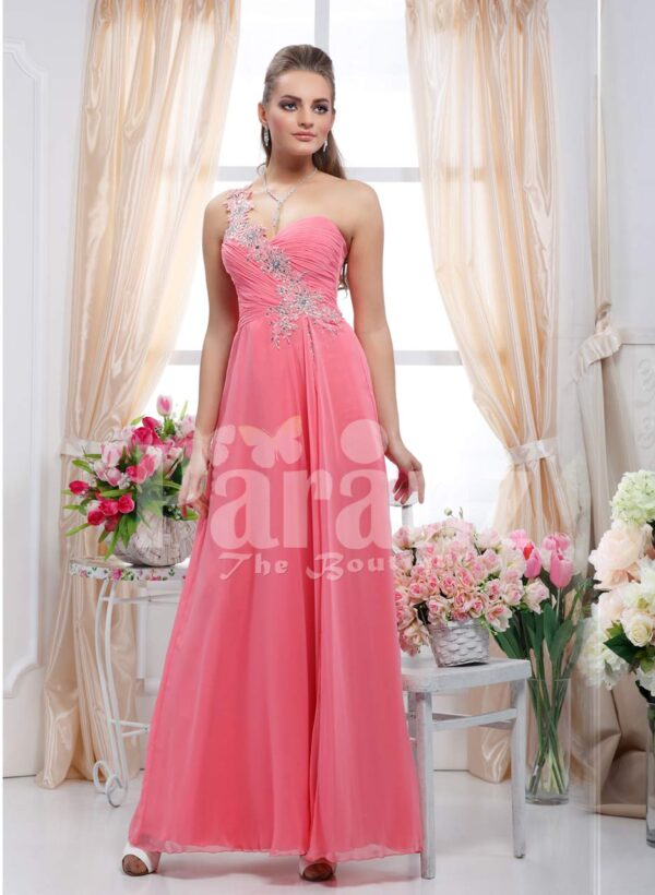 Women's off-shoulder peach pink evening gown with rhinestone work and long tulle skirt