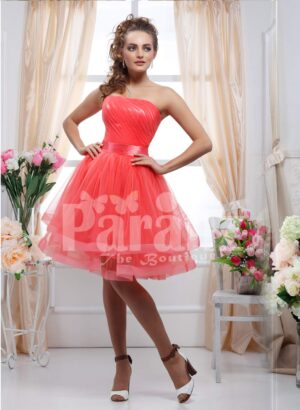 Women's off-shoulder rich and shiny satin bodice tea length tulle skirt evening gown