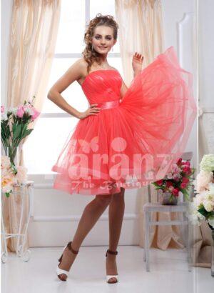 Women's off-shoulder rich and shiny satin bodice tea length tulle skirt evening gown side view
