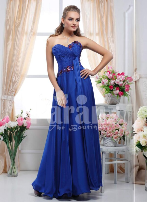 Women's off-shoulder royal blue floor length evening gown with multi-color rhinestone