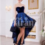 Women's off-shoulder truly beautiful high-low evening gown with velvet bodice in blue