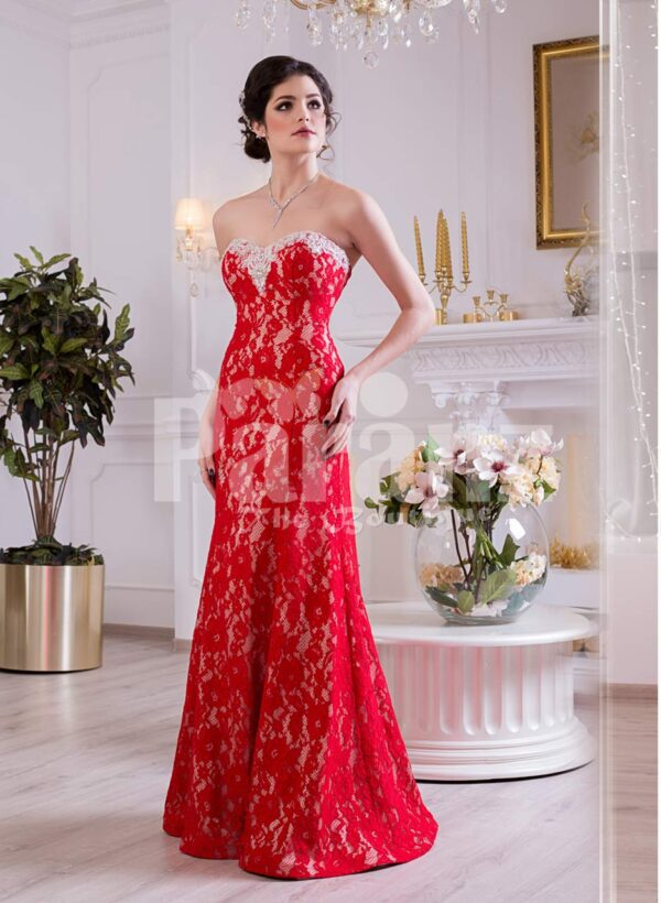 Women's off-shoulder truly beautiful mermaid style evening gown with all over lace work