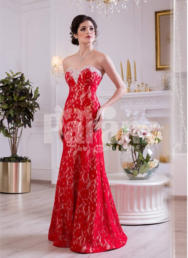 Women's off-shoulder truly beautiful mermaid style evening gown with all over lace work side view