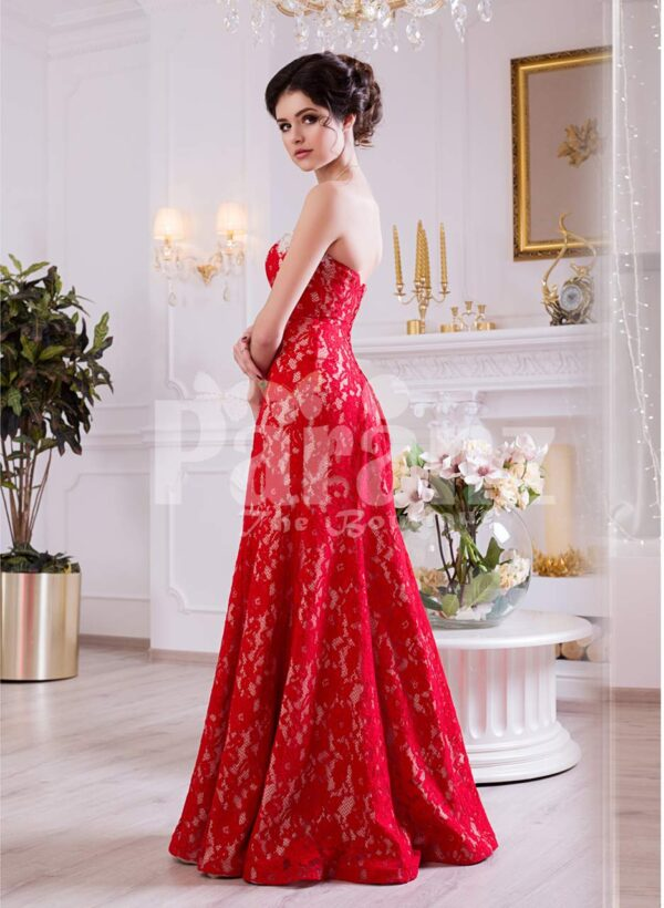 Women's off-shoulder truly beautiful mermaid style evening gown with all over lace work side views