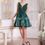 Women's rich satin bold evening dress with solid sequin work bodice and satin skirt