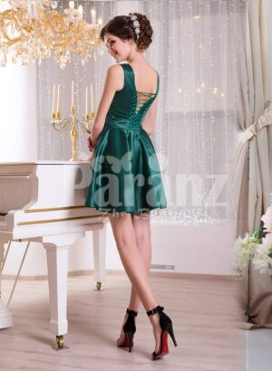 Women's rich satin bold evening dress with solid sequin work bodice and satin skirt side view