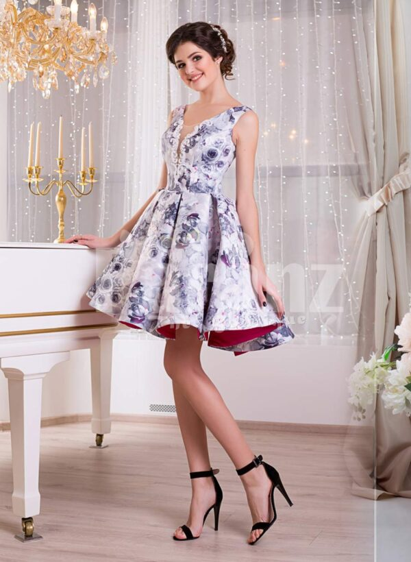 Women's sleeveless blue floral print rich satin small evening gown with delicate lace work