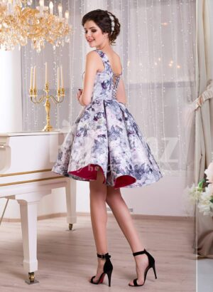Women's sleeveless blue floral print rich satin small evening gown with delicate lace work side view