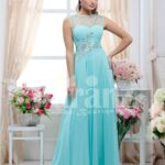 Women's sleeveless crepe-rhinestone bodice glam evening gown with long mint tulle skirt