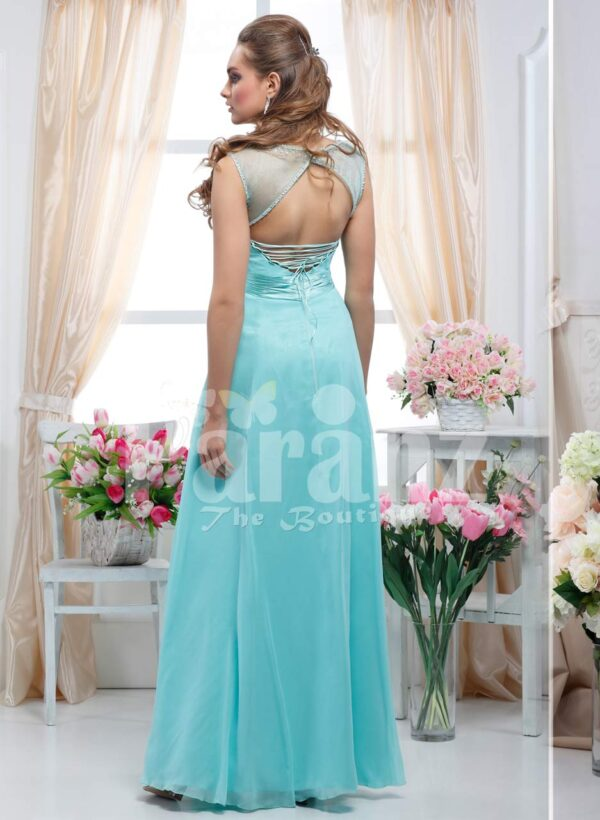 Women's sleeveless crepe-rhinestone bodice glam evening gown with long mint tulle skirt back side view