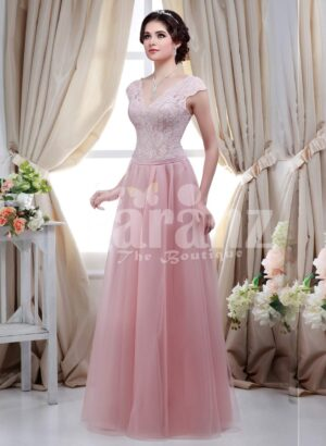 Women's small cap sleeve royal bodice evening gown with light pink long tulle skirt