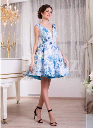 Women's soft and elegant small satin self floral print sleeveless evening dress