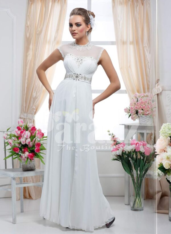 Women's white floor length royal evening party gown with rich rhinestone work neckline
