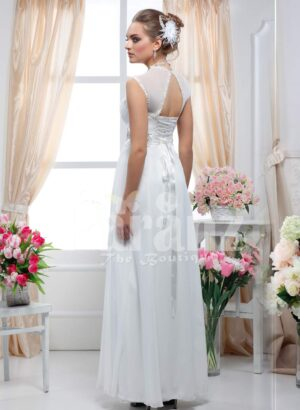 Women's white floor length royal evening party gown with rich rhinestone work neckline side view