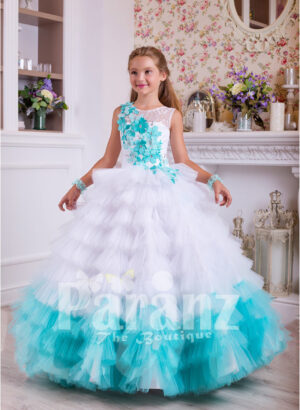 A long formal dress for little girls in white and coral green