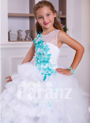 A long formal dress for little girls in white & coral green