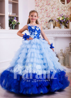 A majestic long formal dress for little girls in blue