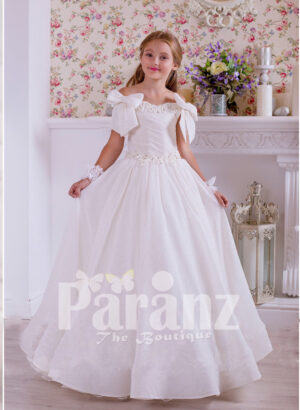A pristine white dress for little girls for formal parties and events
