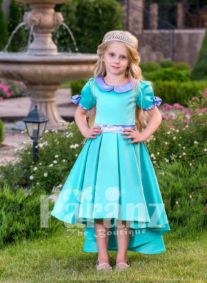 A touch of royalty for your little princess with this exotic blue formal dress