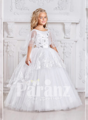 An awesome long white formal dress for little girls