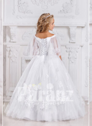 An awesome long white formal dress for little girls back side view