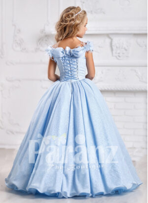 Formal blue dress for little girls to define their sophistication and grace back side view