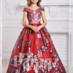 Majestic red long dress for little girls in red