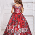 Majestic red long dress for little girls in red back side view
