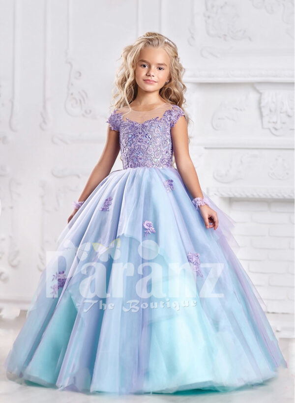 Smart and elegant formal dress for little girls in oceanic blue hue