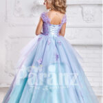 Smart and elegant formal dress for little girls in oceanic blue hue back side view