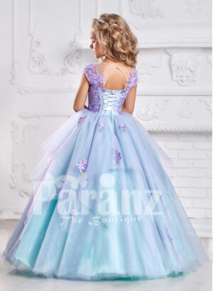 Smart and elegant formal dress for little girls in oceanic blue hue back side view