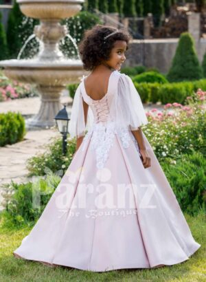 The white dress for little bridesmaids and other formal gatherings back side view